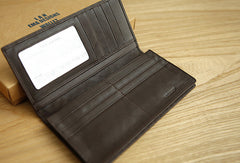 Handmade vintage knit leather clutch bag long wallet ID card holders slots for men