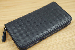 Handmade vintage knit zip leather clutch bag long wallet ID card holders slots for men