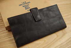 Handmade vintage brown leather clutch bag long wallet multi ID card holders slots for men