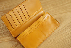 Handmade knit vintage leather clutch bag long wallet multi ID card holders slots for men