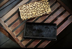 Handmade fashion modern leopard cilice leather long wallet clutch for women/lady girl
