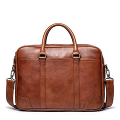 Vintage Brown Leather Men's Professional Briefcase 15'' Laptop Briefcase Work Handbag For Men
