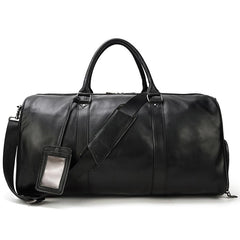 Cool Black Large Leather Men's Overnight Bag Weekender Bag Travel Luggage Bag For Men