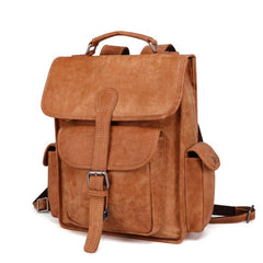 Vintage Brown Leather Men's 14'' Laptop Backpack School Backpack Travel Backpack For Men