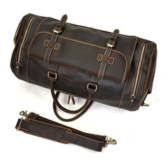 Large Leather Men Barrel Overnight Bags Travel Bags Weekender Bags For Men