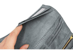 Leather Mens Trifold Long Wallet Handmade Lots Cards Checkbook Long Wallet for Men