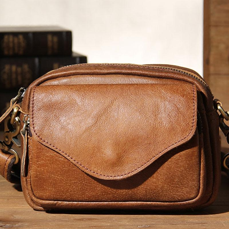 4742cc39f7936 Leather Mens Belt Pouch Small Cases Waist Bags Belt Bag Shoulder Bag for Men