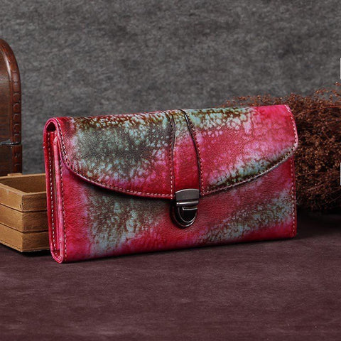 Red Womens Vintage Leather Bifold Wallet Long Wallet Phone Clutch Wallet Purse for Ladies