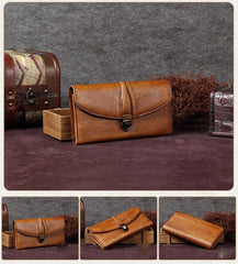 Brown Womens Vintage Leather Bifold Wallet Long Wallet Phone Clutch Wallet Purse for Ladies