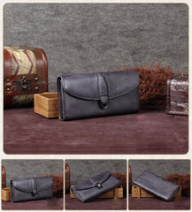 Grey Vintage Leather WOmens Buckle Long Wallet Brown Red Phone Clutch Purse for WOmen