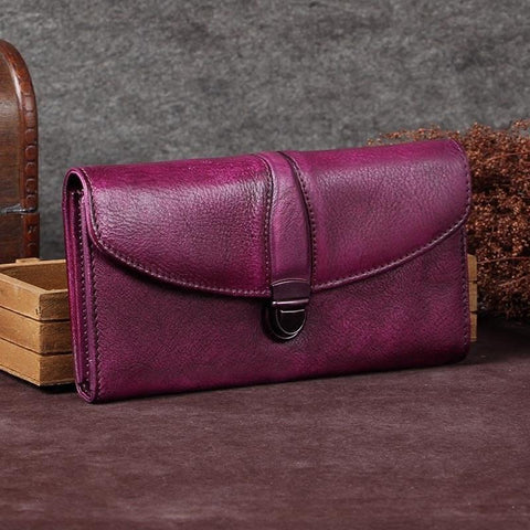 Purple Womens Vintage Leather Bifold Wallet Long Wallet Brown Phone Clutch Wallet Purse for Ladies