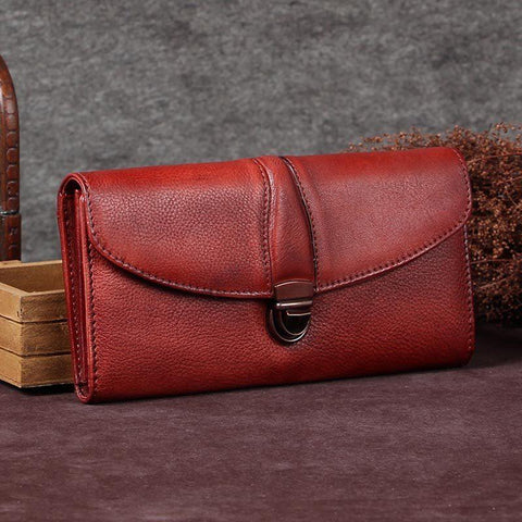 Red Womens Vintage Leather Bifold Wallet Long Wallet Brown Phone Clutch Wallet Purse for Ladies
