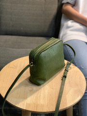 Tan Womens Leather Small Crossbody Purse Green Small Satchel Purse Zip Shoulder Bag for Ladies