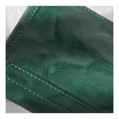 Green Vintage Womens Leather Long Wallet Clutch Wallet Green Checkbook Cards Holder Wallet Purse