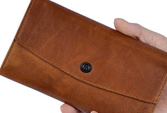 Leather Long Wallet for Men Trifold Brown Wallet