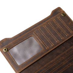Leather Long wallets for Men Wallet Vintage Zipper Credit Cards Wallet for Men Bifold
