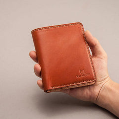 Leather Men Small Wallets Bifold Vintage Short Wallet for Men