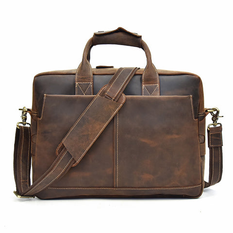 Leather Men Vintage Briefcase Handbag Shoulder Bag Work Bag For Men