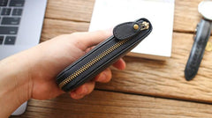 Leather Mens Black Zipper Small Wallet Front Pocket Wallet Short Small Wallet for Men