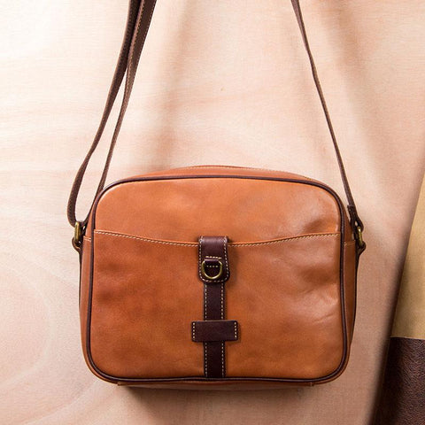 Leather Mens Brown Messenger Bag Shoulder Bag Crossbody Bag for Men