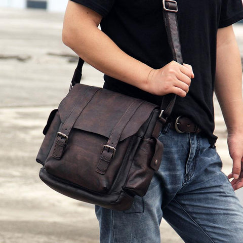 Vintage Leather Mens Cool Messenger Bag Shoulder Bag Crossbody Bag for Men