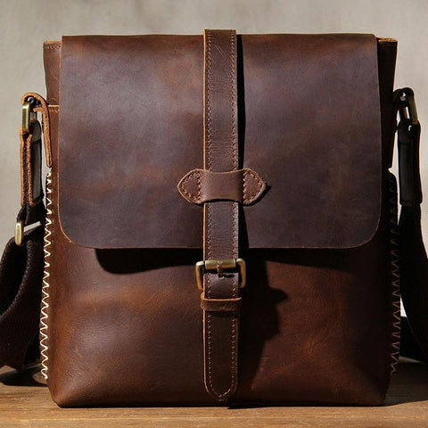 Cool Leather Mens Messenger Bag Shoulder Bag Vintage Crossbody Bag for Men