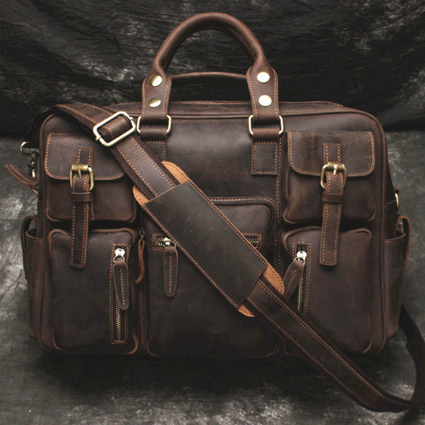 Vintage Leather Mens Large Briefcase Travel Bag Large Business Bag for men