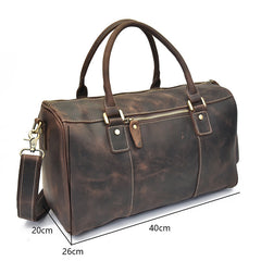 Cool Leather Mens Weekender Bag Vintage Travel Bag Duffle Bag for Men