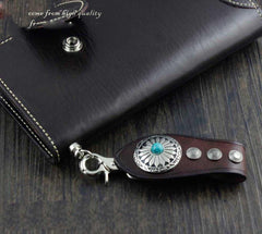 Cool Leather Mens Braided Wallet Chain Pants Chain with Belt Loop for Men