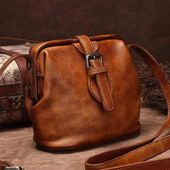 Gray Small Womens Leather Doctor Shoulder Bag Female Brown Doctor Bag Style Purse for Ladies