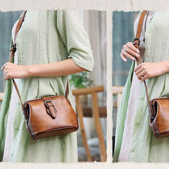 Brown Small Womens Leather Doctor Shoulder Bag Female Blue Doctor Bag Style Purse for Ladies