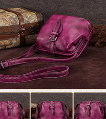 Purple Small Womens Leather Doctor Shoulder Bag Female Blue Doctor Bag Style Purse for Ladies