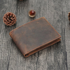 Leather Small Mens Wallet Bifold Vintage Trifold Short Wallet for Men