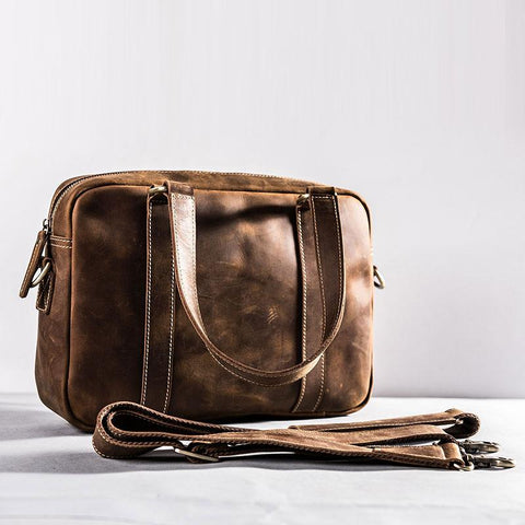 Leather Small Messenger Bag for men Vintage Handbag Shoulder Bag for men