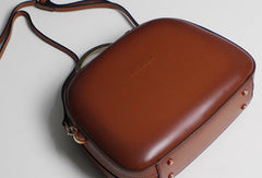 Leather handbag shoulder bag brown red for women leather crossbody bag