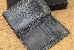 men long leather wallet men trifold vintage gray brown long wallet for him
