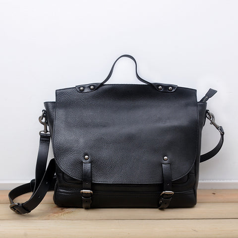 Leather men Black Briefcase Backpack Messenger Bag Shoulder bag