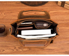Light Brown Leather Mens 12 inches Briefcase Vertical Laptop Bag Business Handbag Work Bags for Men