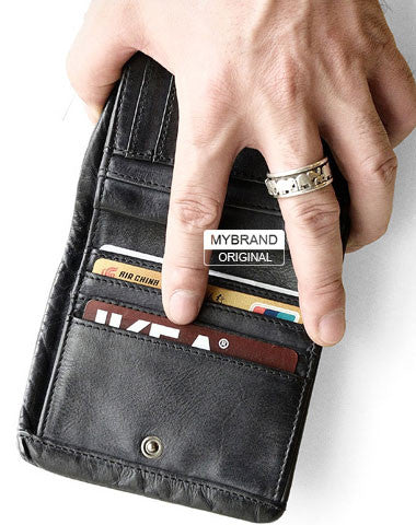 Genuine leather short wallet leather men short vintage wallet for men