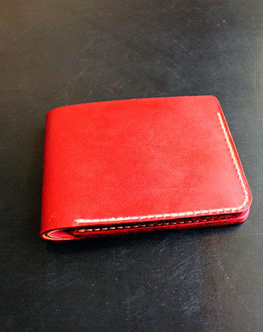 Handmade pretty red cute leather short ID card holder bifold wallet for women/lady girl