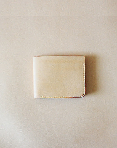 Handmade pretty beige cute leather short ID card holder bifold wallet for women/lady girl