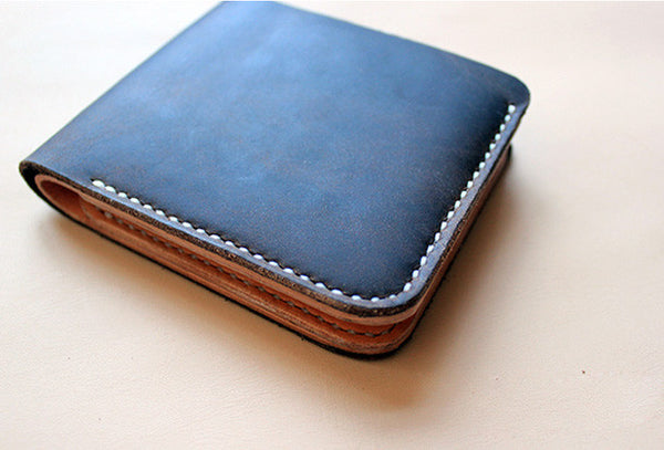 Handmade pretty black cute leather short ID card holder bifold wallet for women/lady girl