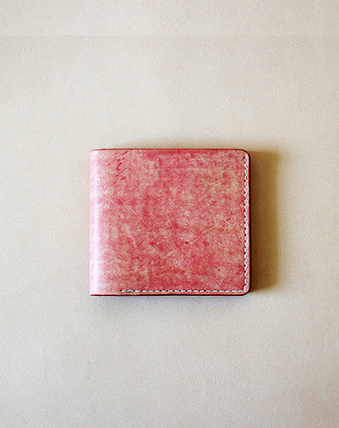 Handmade vintage red cute leather short ID card holder bifold wallet for women/lady girl
