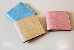 Handmade vintage blue cute leather short ID card holder bifold wallet for women/lady girl