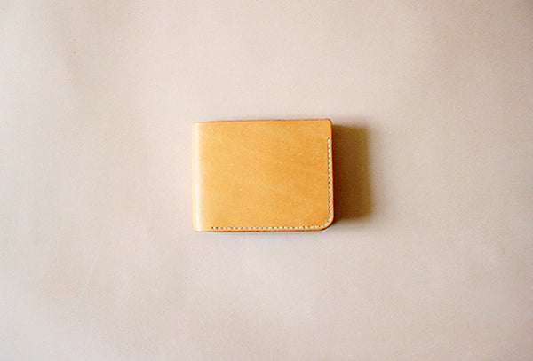 Handmade vintage yellow cute leather short ID card holder bifold wallet for women/lady girl
