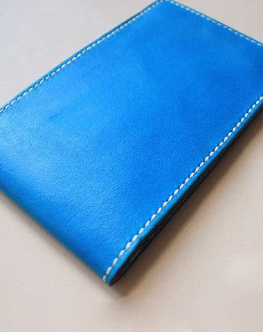 Handmade blue pretty fashion hand dyed leather short ID card wallet for women