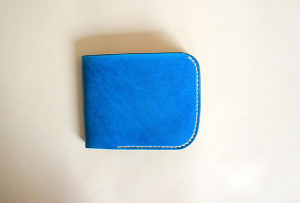 Handmade pretty blue cute leather short ID card holder bifold wallet for women/lady girl