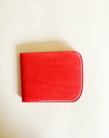 Handmade vintage red cute leather billfold ID card holder bifold wallet for women/lady girl