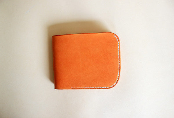 Handmade vintage yellow leather short ID card holder bifold wallet for women/lady girl