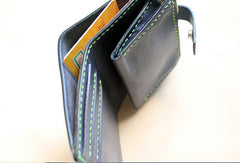 Handmade black fashion leather billfold ID card photo holder bifold wallet for women
